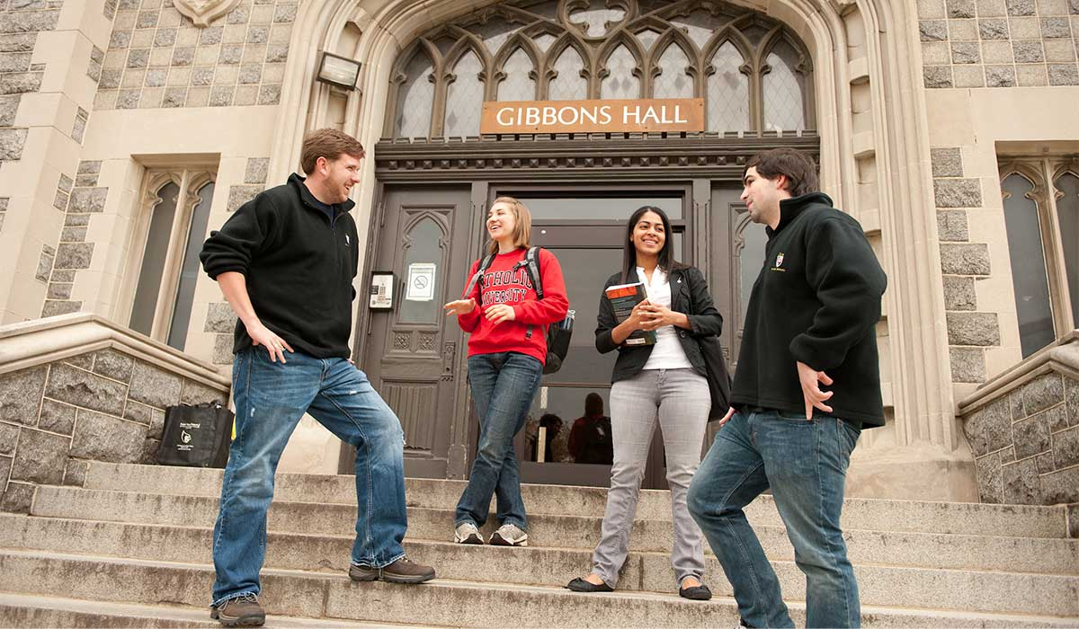 CUA students on the steps of Gibbons Hall